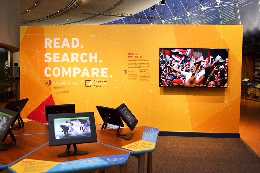 In the exhibition, visitors can learn about the project and explore the website on tablets.